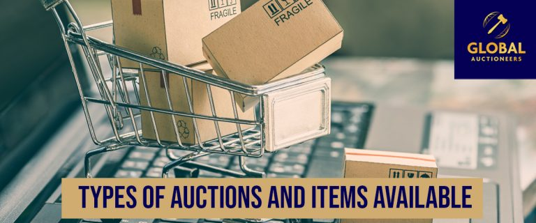 Types of auctions and products available banner